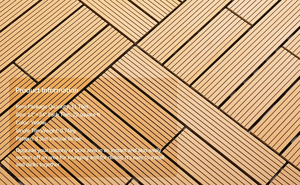 22 sq.ft Samincom Deck Tiles Interlocking Wood-Plastic Composites Patio Pavers - Stripe 8 Slat Pack of 11 Yellow 12/× 24 Water Resistant Flooring Tiles Indoor Outdoor