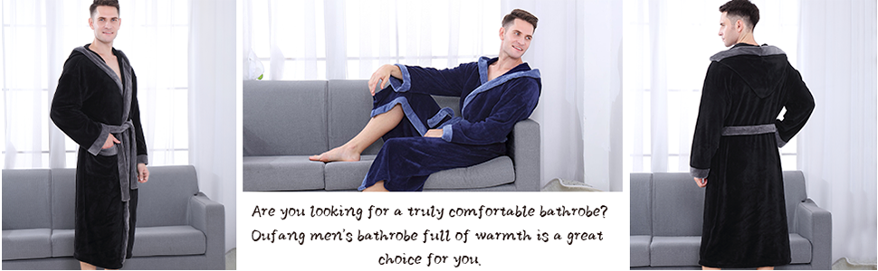 Oufang men's bathrobe full of warmth is a great choice for your cozy robe