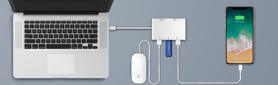 Adaptador HUB USB Tipo C a HDMI/VGA / 3 x USB 3.1 Tipo C, NeefeaerHUB USB C (Compatible con Thunderbolt 3) USB C HDMI Adaptador multipuerto AV Digital ...
