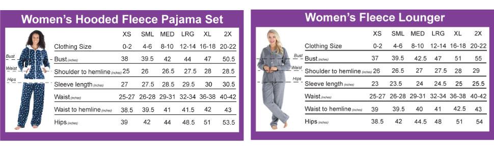 Women's Frankie amp; Johnny Pajama Size Charts