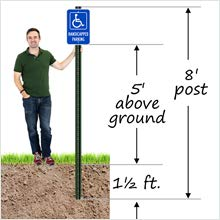 Handicapped and Reserved Parking, U-channel Sign Post, Heavy-duty Aluminum, Rail Steel