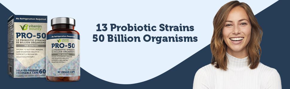 13 probiotic strains 50 billion organisms