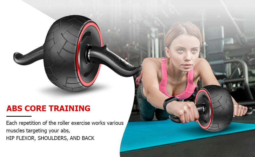 Rueda de rodillo para abdominales Cyiecw con rodillera ultra ancha para abdominales, equipo de entrenamiento central, rueda de ejercicio, para hombre ...