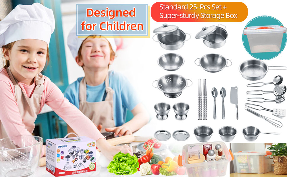 - Kitchen Playset Pretend Cookware Mini Stainless Steel Cooking Utensils