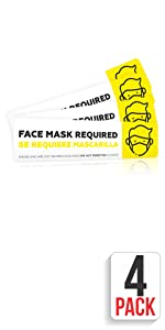 FACE MASK Required Sign Removable Sign for Asking Customers to Wear Face Mask Business Door Sign