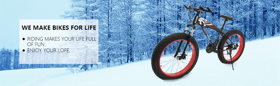 26 inch fat tire mountain bike for men snow bike