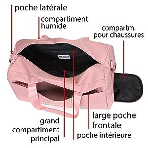 Compartiments, compartiments supplémentaires, poche latérale, poche avant, compartiment humide