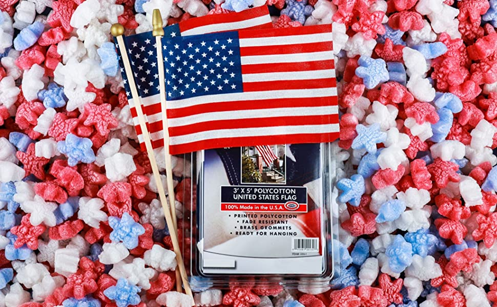 packing peanuts american flag patriot patriotic 4th of july fourth america stars and stripes