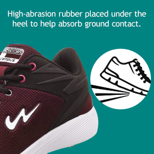 High-abrasion Rubber Placed Under The Heel to Help Absorb Ground Contact
