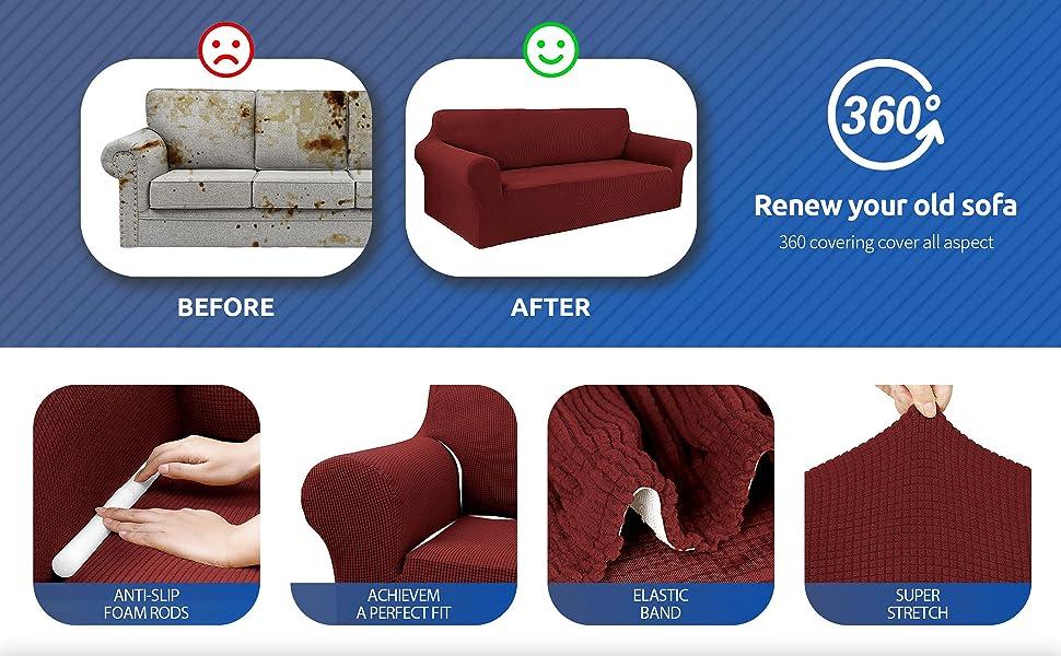 Dark Red sofa cover L/XL/XXL A+5
