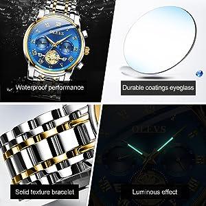 olevs watch men water proof resistance steel band