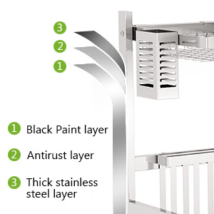 Non-slip Dish Drying Rack HEOMU Over The Sink Dish Drying Rack, Large Single-Tier Premium