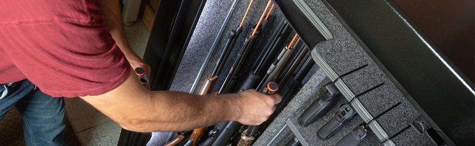 Gun Safe organized with Rifle Rods