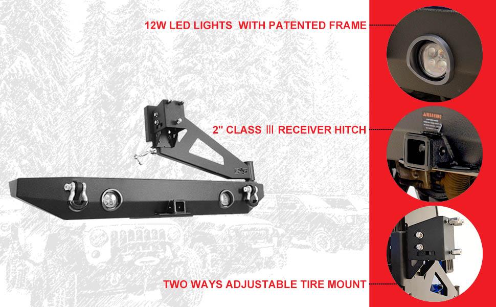 led light rear bumper for wrangler 2008 2009 2010 2013 2018