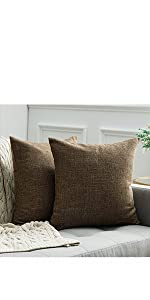 farmhouse linen burlap pillows coffee chocolate taupe with vintage buttons fall decor