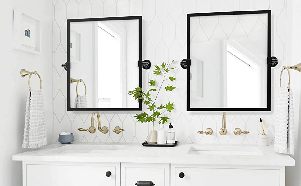 Amazon Com Tehome Black Metal Framed Pivot Rectangle Bathroom Mirror Tilting Beveled Vanity Mirrors For Wall 23 X 24 Inches Home Kitchen