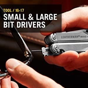 Small Bit Drivers, Large Bit Drivers, Leatherman, Leatherman Wave Plus, Multitool, Multipurpose Tool