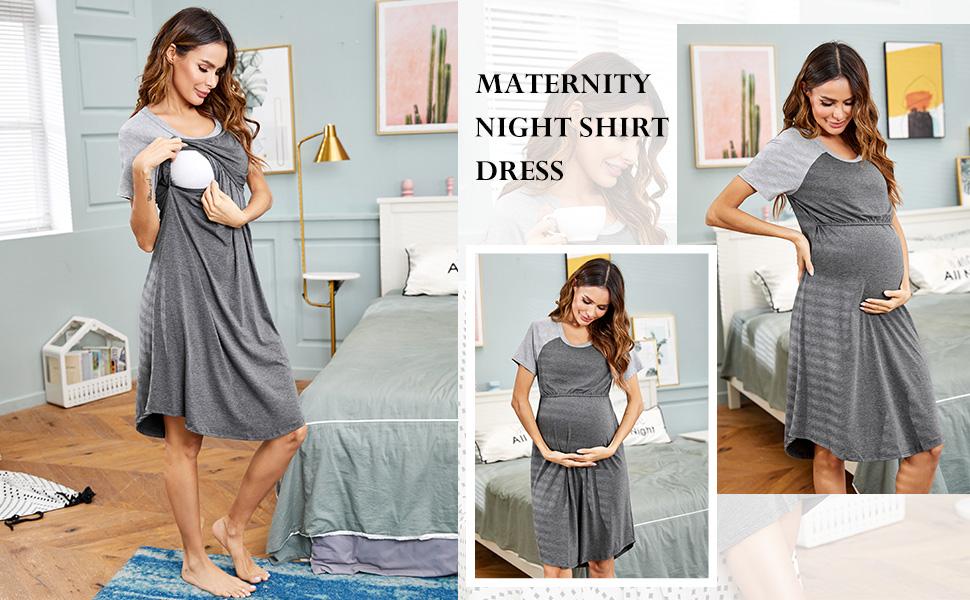 Labor/Delivery/Maternity Short Sleeve Breastfeeding Sleepwear