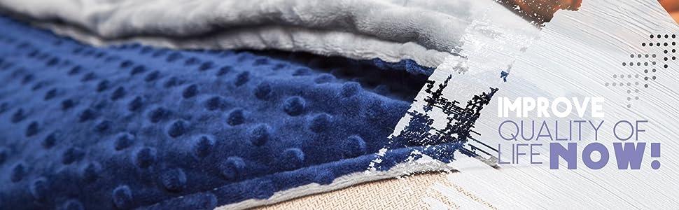 navy blue weighted blanket, dark blue weighted blanket, gray blanket