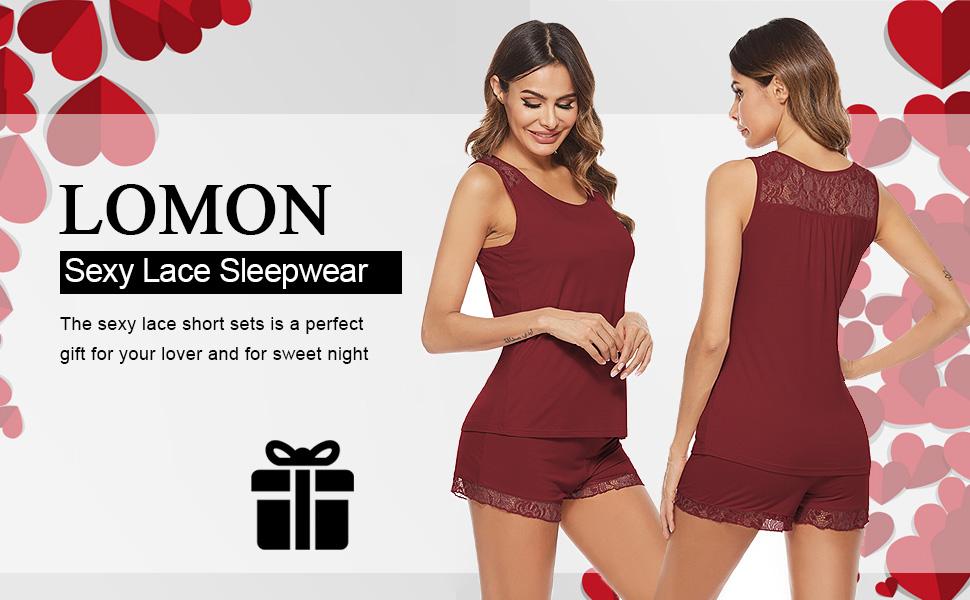 Women's Sleeveless Modal Cotton Cute Lace Trim Lingerie Pajamas Tee and Shorts Set