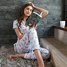 pyjama set nightsuit nightwear nightdress for women cotton sleepwear set
