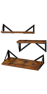 set of 3 wood wall shelf
