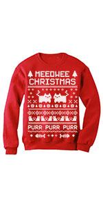 cat Meeowee Ugly Christmas Sweater Style Funny Women Sweatshirt