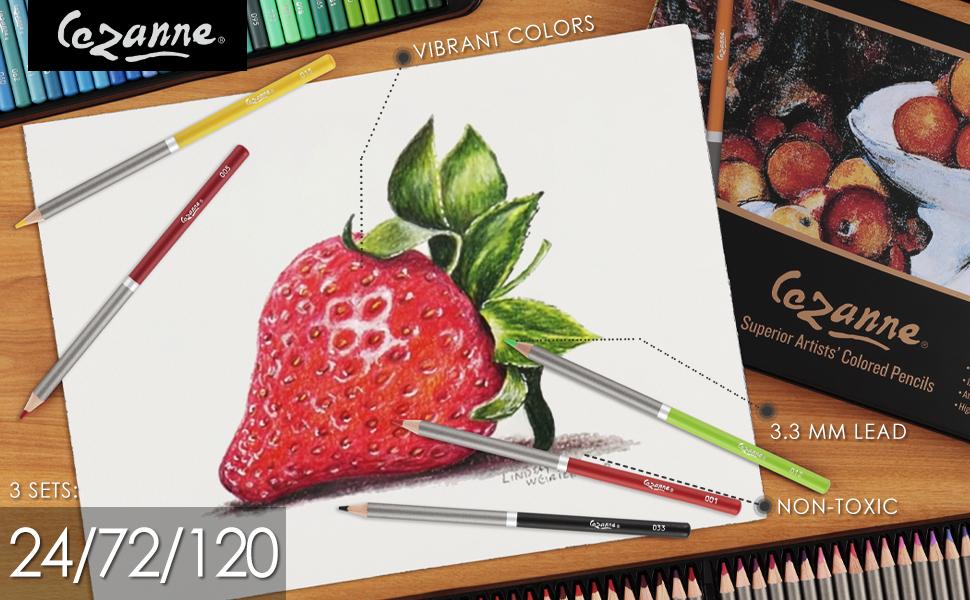 cezanne colored pencils 24 72 120 count set strawberry vibrant