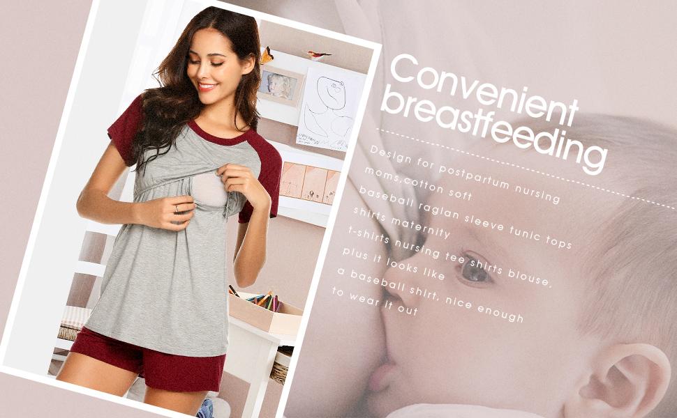 Maternity Pajamas for Hospital Nursing Pj Sets for Women Maternity Shorts Cotton Nursing