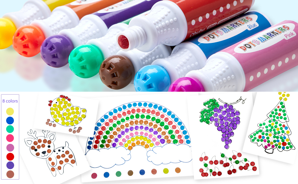 Dot Markers Kit Paint Marker  Water-Based Non-Toxic Bingo Daubers Kids Children  Dot Art Markers