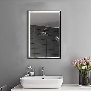 Artsay 22x30 Mirror Wall Hanging Black Frame Mirrors for Bathroom Living Room Bedroom Makeup Vanity Explosion-Proof