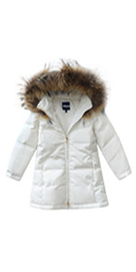 Girls Faux Fur Hooded Down Puffer Jacket Winter Thick Coat