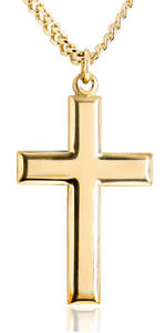 Chain Choice USA Made Heartland Classic High Polish Cross 14 Karat Gold Filled Pendant for Men