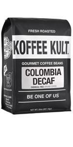 Colombian Decaf coffee medium roast koffee kult