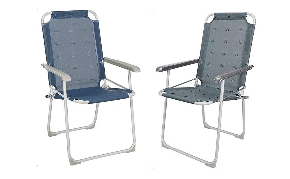 BERGER Klappstuhl Classic grau, bis 100 kg belastbar, Aluminium, Gewicht nur 2,56 kg, Campingstuhl Klapphocker