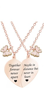 rose gold BFF Necklace for 2 together forever with butterfly