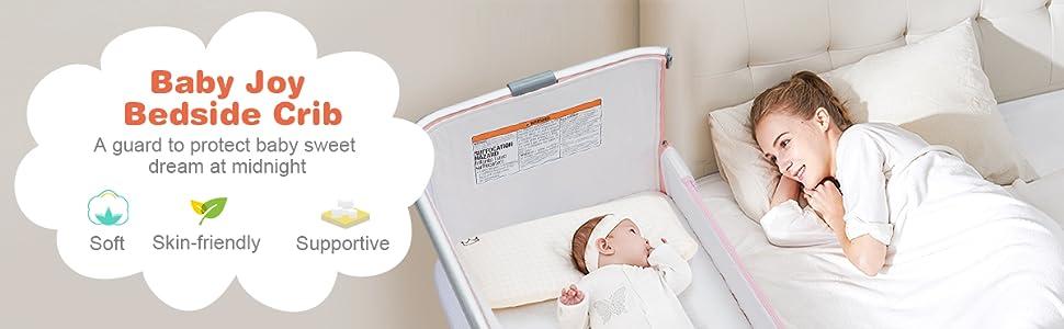 bedside sleeper with mattress, safety straps, mesh windows