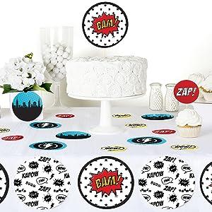 Bam Superhero Comic Book Baby Shower Birthday Bday Party Giant Circle Confetti