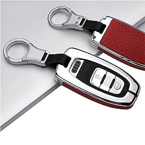 Ontto 1 Stück Autoschlüssel Hülle Abdeckung Schlüssel Tasche Für Audi A4 A5 A6 A7 Q5 Q7 Q8 Rs Sq Ttrs Metall Zink Legierung Leder Schlüsselschutz Keyless Mit Schlüsselbund 3 Tasten Silver