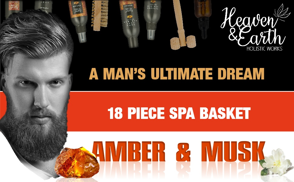 Amber and musk men's spa basket
