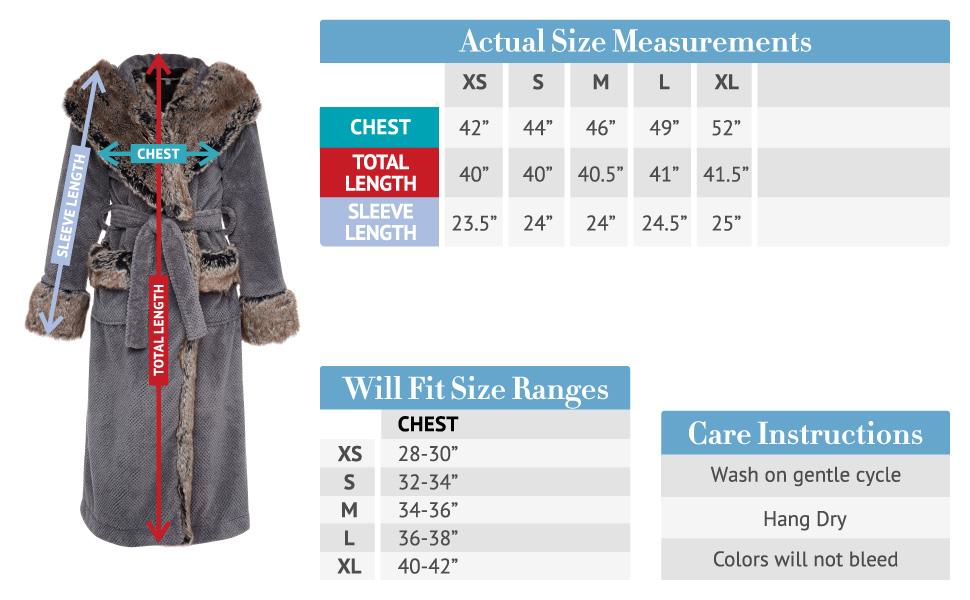 faux fur size chart