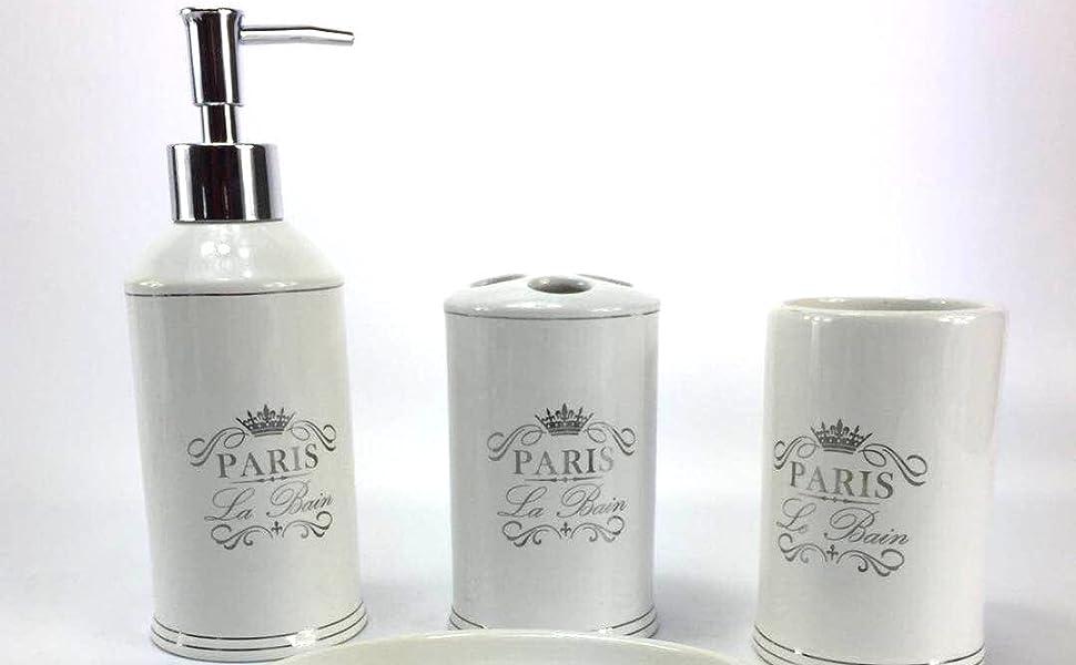 Amazon Com Wpm 4 Piece Ceramic Bathroom Accessories Set White Classic French Provincial Paris Our Complete Bath Decor Kit Includes Designer Soap Or Lotion Dispenser Toothbrush Holder Tumbler