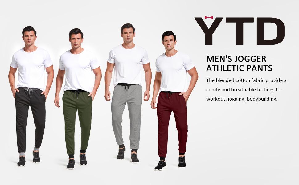 YTD Men's Active Basic Jogger Fleece Pants