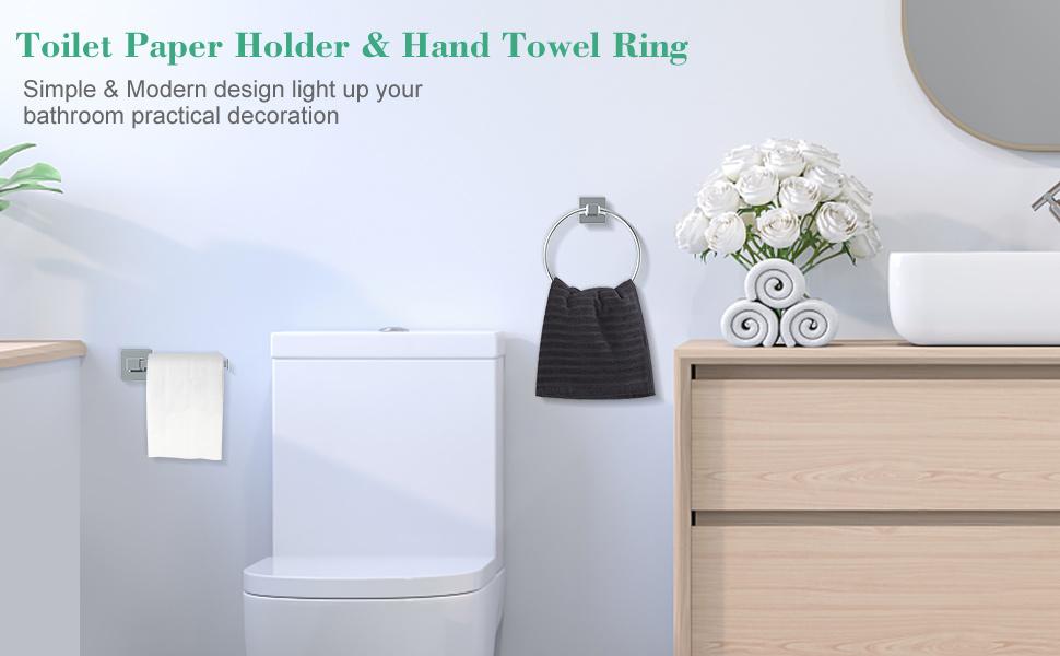 Toilet Paper Holder amp; Hand Towel Ring, 2 Piece Bathroom Hardware Set