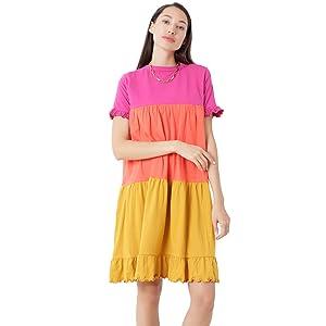 blancd oversized baggy colourblock plussize 4xl summerdress casualdress color block nightwear