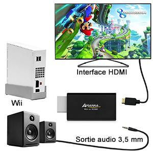 AMANKA Wii a HDMI HD TV Convertidor Adaptador Viene con Jack de 3,5 mm, Full HD 1080P Adaptador Conmutación automática PAL/NTSC Ninguna fuente de alimentación externa, Negro: Amazon.es: Electrónica