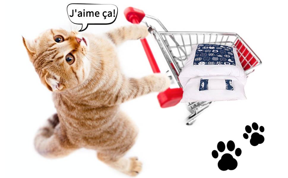 JuneJour Lit pour Chat Sac de Couchage pour Chat Litière pour Chat Chaud Hiver Sac de Couchage Fermé