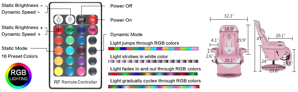 rgb gaming chair controller