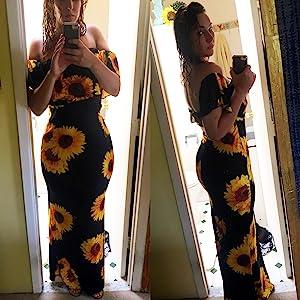 floral long off shoulder maxi dresses for women