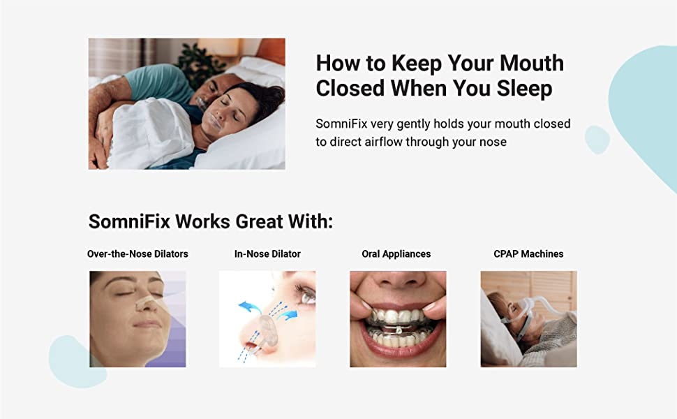 Snore CPAP sleep device mouth breathing nasal prevention dry mouth taping somnifix deep sleep apnea